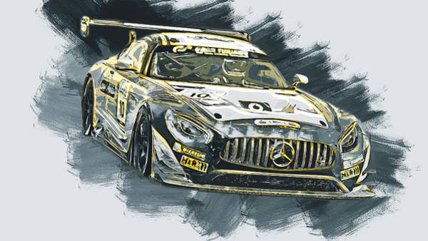 Painting - Mercedes Amg Gt3 - 77 by Andrea Mazzocchetti