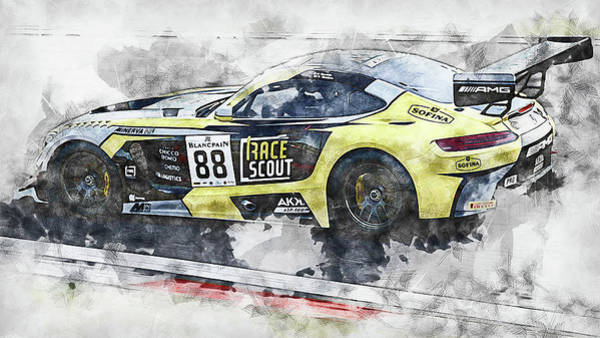 Painting - Mercedes Amg Gt3 - 78 by Andrea Mazzocchetti