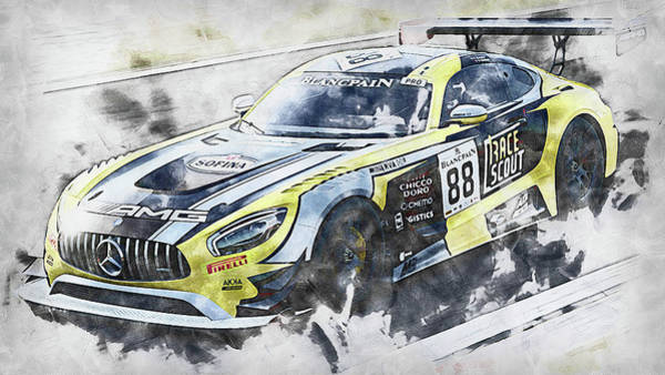 Painting - Mercedes Amg Gt3 - 80 by Andrea Mazzocchetti