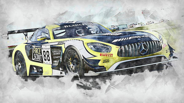 Painting - Mercedes Amg Gt3 - 81 by Andrea Mazzocchetti