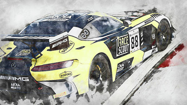 Painting - Mercedes Amg Gt3 - 86 by Andrea Mazzocchetti