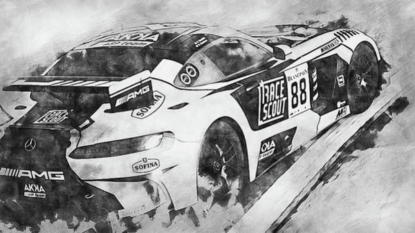 Painting - Mercedes Amg Gt3 - 87 by Andrea Mazzocchetti