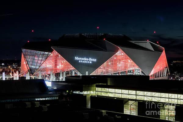 Photograph - Mercedes Benz Stadium - Atlanta Ga At Night by Sanjeev Singhal