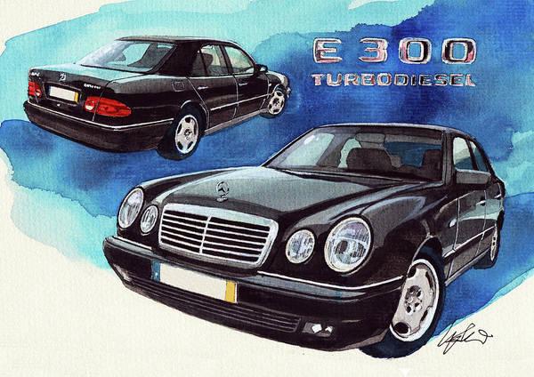 Mercedes Painting - Mercedes E 300 by Yoshiharu Miyakawa