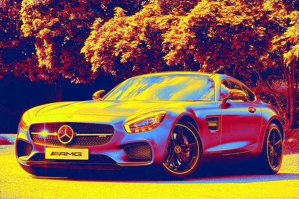 Wall Art - Painting - Mercedes Sports Gradient Neon Coloring By Ahmet Asar, Asar Studios by Ahmet Asar