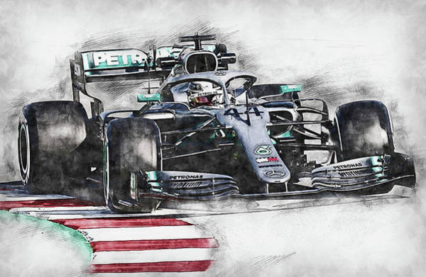 Drawing - Mercedes W10 - 17 by Andrea Mazzocchetti