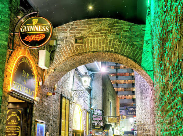 Wall Art - Photograph - Merchants Arch At Night In Dublin by John Rizzuto