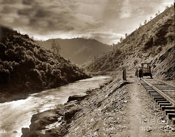 Photograph - Merced River And The Yosemite Valley Railroad   Circa 1910 by California Views Archives Mr Pat Hathaway Archives