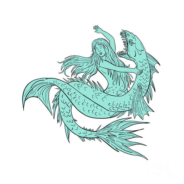 Wall Art - Digital Art - Mermaid Grappling With Sea Serpent Drawing Color by Aloysius Patrimonio