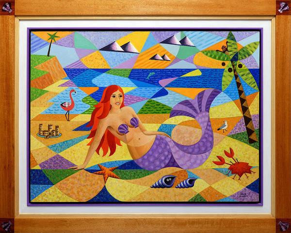 Sand Castle Painting - Mermaid In Frame by Bruce Bodden