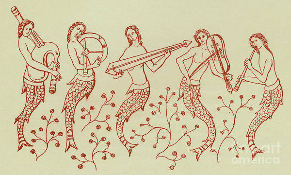 Wall Art - Drawing - Mermaid Musicians by Unknown