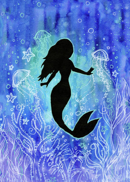 Wall Art - Painting - Mermaid Under Water by Olga Shvartsur