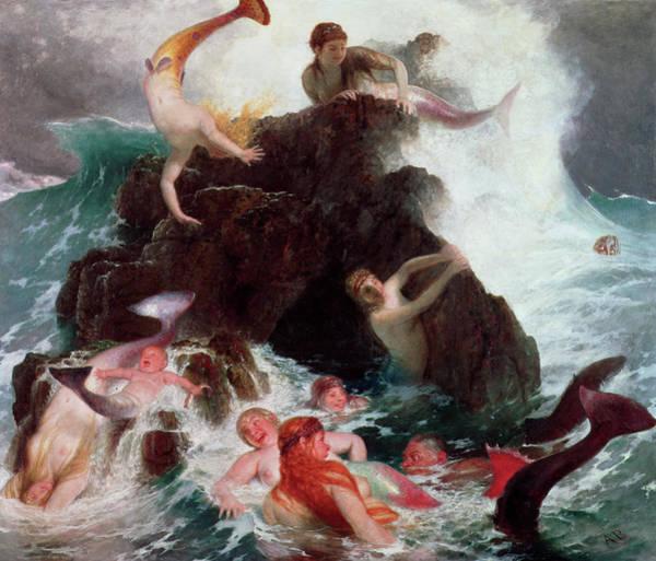Little Mermaid Wall Art - Painting - Mermaids At Play, 1886 by Arnold Bocklin