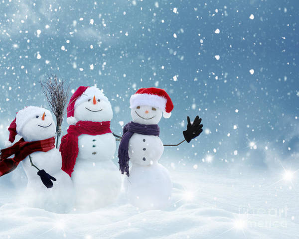 Snowman Wall Art - Photograph - Merry Christmas And Happy New Year by Lilkar