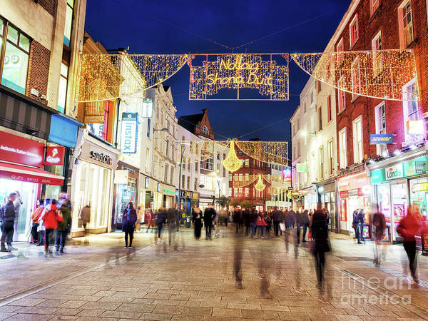 Wall Art - Photograph - Merry Christmas At Night Dublin by John Rizzuto