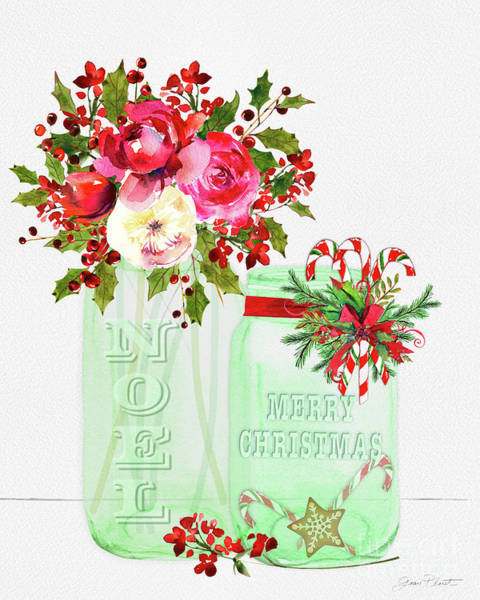 Wall Art - Painting - Merry Christmas Mason Jar by Jean Plout