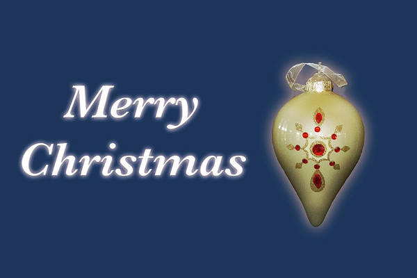 Photograph - Merry Christmas Ornament Blue by Marvin Bowser