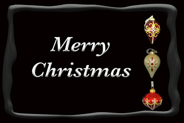 Photograph - Merry Christmas Ornaments Black by Marvin Bowser