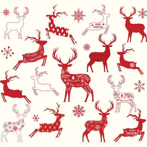 Wall Art - Digital Art - Merry Christmas Reindeer,reindeer by Alexaz