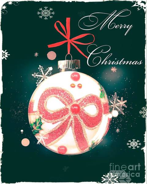 Photograph - Merry Christmas Ribbon Ornament by Rachel Hannah