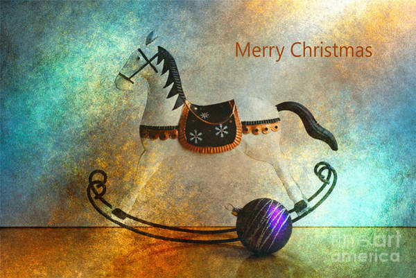 Digital Art - Merry Christmas Rocking Horse by Joy Watson
