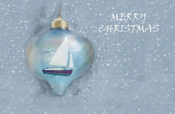 Swan Boats Photograph - Merry Christmas Sailboat Ornamet by Sandi OReilly