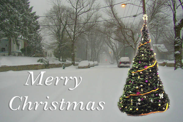Photograph - Merry Christmas Tree In Snow by Marvin Bowser