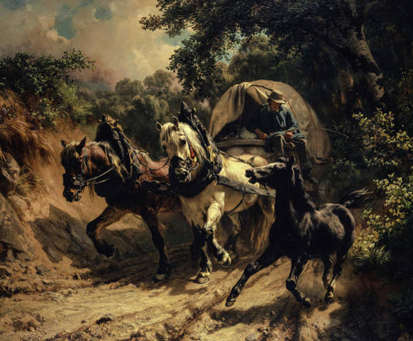 Wall Art - Painting - Messenger Carriage In A Hollow Way by Johann Rudolf Koller
