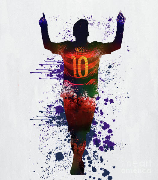 Wall Art - Painting - Messi Barcelona by Gull G
