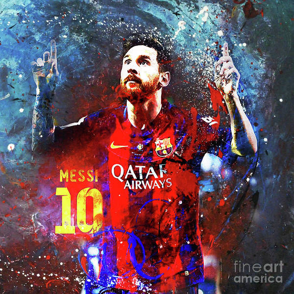 Wall Art - Painting - Messi Barcelona Player by Gull G