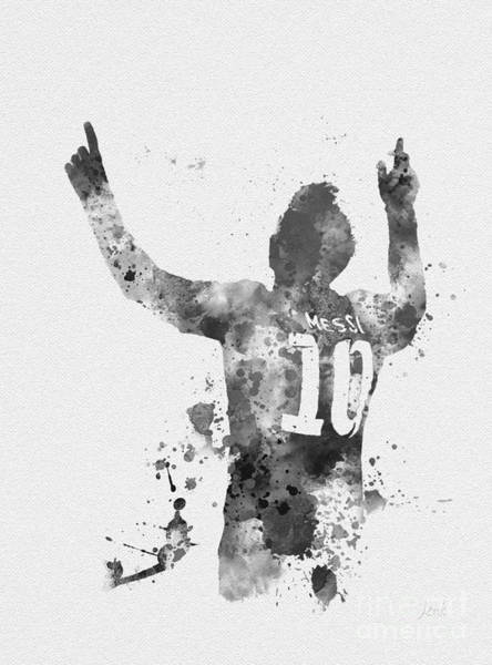 Wall Art - Mixed Media - Messi Black And White by My Inspiration