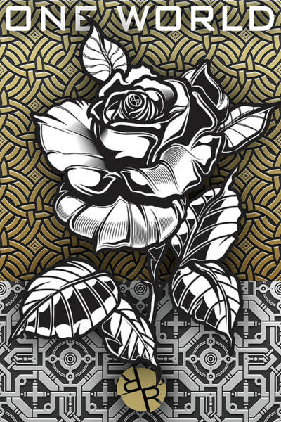 Wall Art - Painting - Metal Rose One World by Tony Rubino