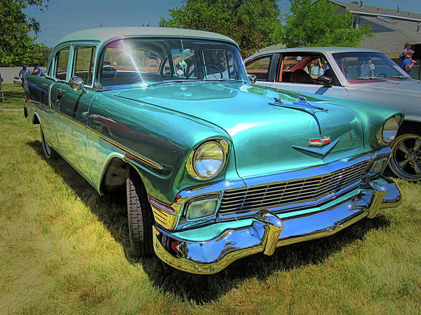 Photograph - Metallic Green 1956 Chevy Sedan by David King
