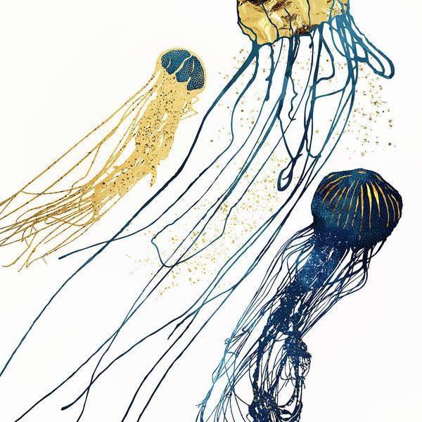 Wall Art - Digital Art - Metallic Jellyfish II by Spacefrog Designs