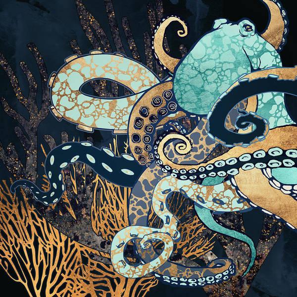 Wall Art - Digital Art - Metallic Octopus II by Spacefrog Designs
