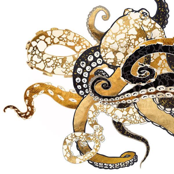 Tentacles Digital Art - Metallic Octopus by Spacefrog Designs