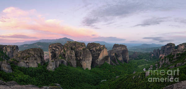 Photograph - Meteora Sunrise Panorama In Greece by Didier Marti