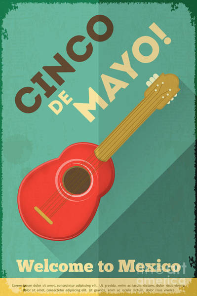Wall Art - Digital Art - Mexican Guitar. Posters In Retro Style by Vector Posters And Cards