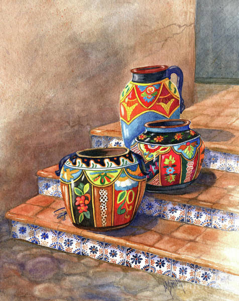 Adobe Walls Painting - Mexican Pottery Still Life by Marilyn Smith