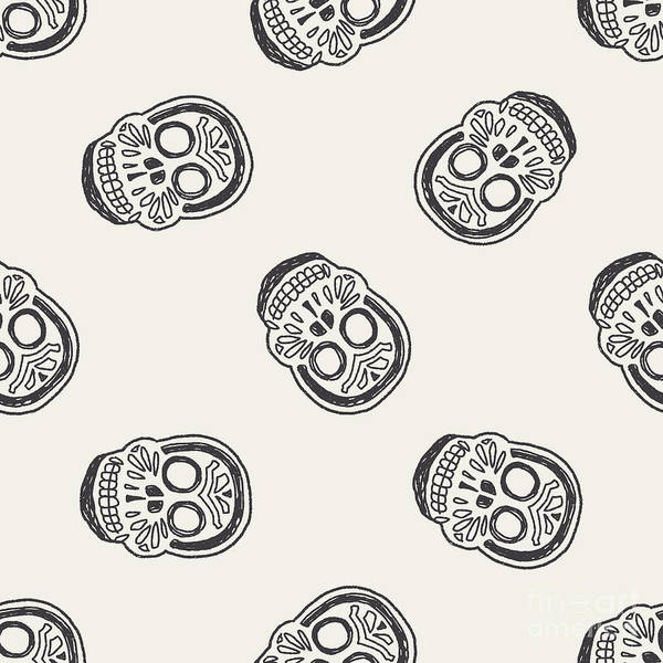 Wall Art - Digital Art - Mexican Skull Doodle Seamless Pattern by Hchjjl