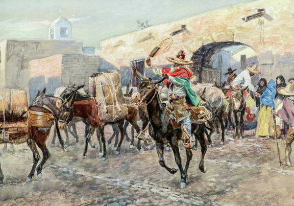 Wall Art - Painting - Mexicans Leaving An Inn, 1906 by Charles M Russell