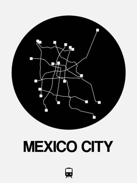 Wall Art - Digital Art - Mexico City Black Subway Map by Naxart Studio