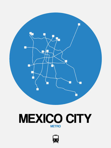 Wall Art - Digital Art - Mexico City Blue Subway Map by Naxart Studio