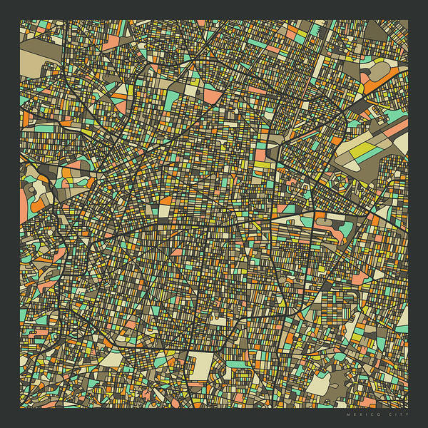 Mexico Wall Art - Digital Art - Mexico City Map 2 by Jazzberry Blue