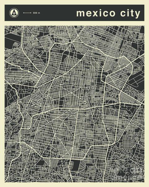 Wall Art - Digital Art - Mexico City Map 3 by Jazzberry Blue