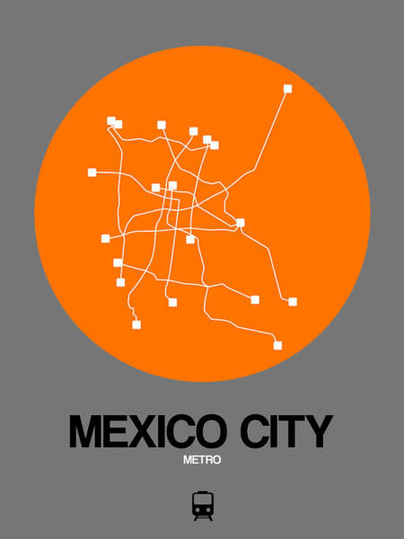 Wall Art - Digital Art - Mexico City Orange Subway Map by Naxart Studio