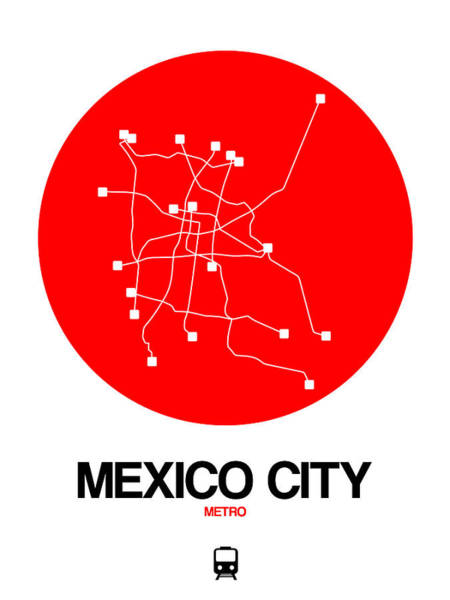 Wall Art - Digital Art - Mexico City Red Subway Map by Naxart Studio