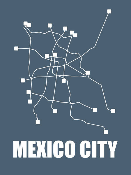 Wall Art - Digital Art - Mexico City Subway Map by Naxart Studio