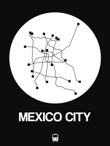 Wall Art - Digital Art - Mexico City White Subway Map by Naxart Studio