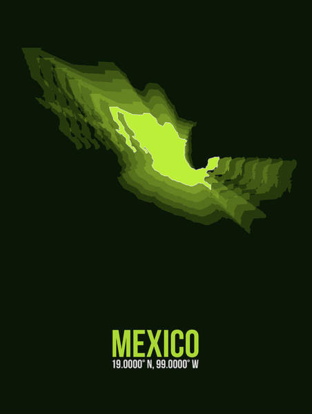 Wall Art - Digital Art - Mexico Radiant Map 3 by Naxart Studio